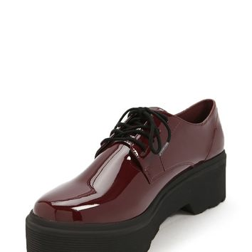 Faux Patent Leather Platform Oxfords