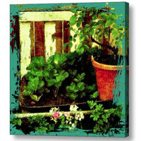 The Garden Corner canvas giclee wrap, colorful mixed media painting, spring summer wall decor, red turquoise yellow fine art