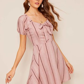 Sweetheart Neck Bow Front Fit & Flare Dress