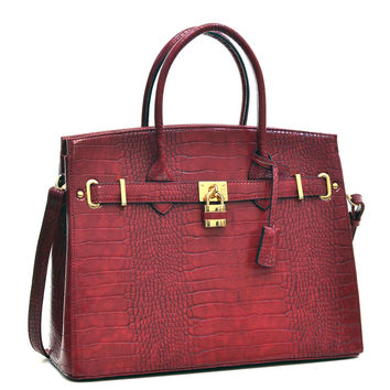 "Red Faux Alligator Crocodile Padlock iPad, Tablet or MacBook or MacBook Air 11"" - 13"" Handbag"