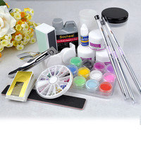 Pro Full Acrylic Powder Liquid NAIL ART KIT Block Glitter Brush Glue Tips Set