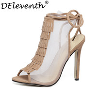 2016 Summer New Fashion Sexy Shoes Out-cuts Tassel Net Cloth Lace Up Shoes Pointed Toe Thin High Heels Women Sandals Size35-40