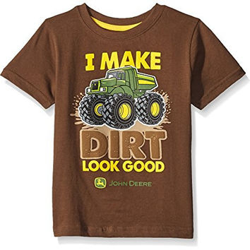John Deere Little Boys' Dirt Look Good T-Shirt, Brown, 3T