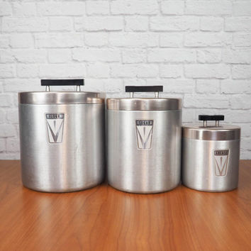 Vintage Aluminum Canister Set by Maid of Honor | Retro 1950s Kitchen