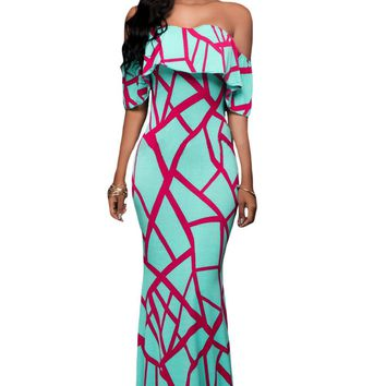Chicloth Mint Green Fuchsia Off-the-shoulder Maxi Dress