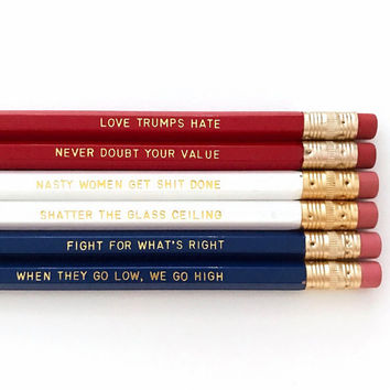 Hillary Clinton Election Personalized Pencil set - Inspirational pencil set - Feminist pencil set - Nasty women pencil set