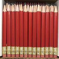 Half Pencils with Eraser - Golf, Classroom, Events, School, Pew, Short, Mini, Small, Non Toxic - Hexagon, Sharpened, #2 Pencil (Color - Red, Box of 48) Golf Pocket Pencils TM