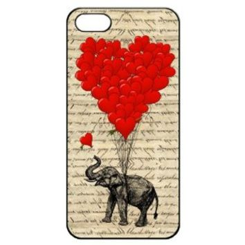 Elephant and Heart Shaped Balloons Hard Back Shell Case Cover Skin for Iphone 5 Cases - Black/white/clear