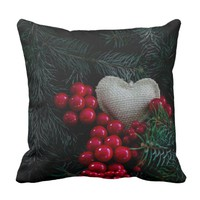 Heart in Christmas Throw Pillow