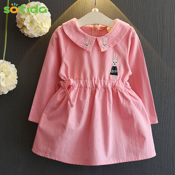Girls Dress 2016 Autumn Princess Dress Baby Girls Clothes Peter pan Collar Long-sleeve Embroidery for Girls Dresses