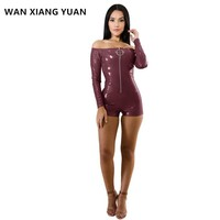 WAN XIANG YUAN Bodysuit Women 2017 Fashion Autumn Sexy Off Shoulder Long Sleeves Leather Bodysuit Slim Body Suits for Women 1128