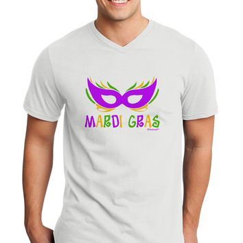 Mardi Gras - Purple Gold Green Mask Adult V-Neck T-shirt by TooLoud