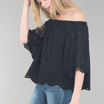 Off Shoulder Bell Sleeve Lace Top