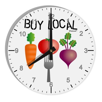 "Buy Local - Vegetables Design 8"" Round Wall Clock with Numbers"