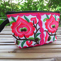 Neon Bright Pink Hmong Embroidered Coin Purse  Small Purse Cotton Vintage Tribal Ethnic Neon Bright Colorful