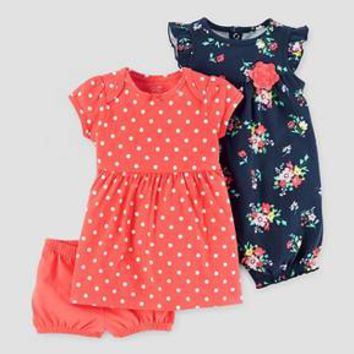Baby Girls' 2 Pack Romper and Dress Set Orange/Navy - Just One You™ Made by Carter's®