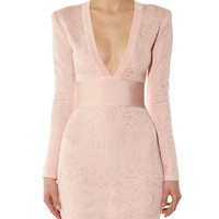 V-neck lace-knit dress | Balmain | MATCHESFASHION.COM US