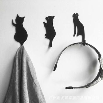 3 PCs Cute Cat Tail Dog Hooks Kitchen Wall Door Metal Hooks Key Hanger Racks Super Strong Magnetic Fridge Bathroom Door Decor