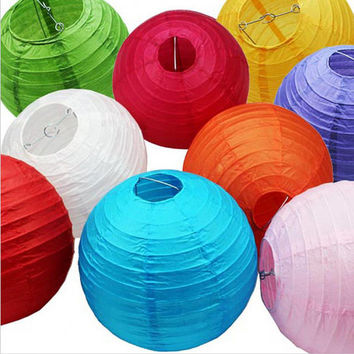 "Chinese Paper Lanern 6"" (15cm) 10PCs Set Round Lamp Wedding Decoration, Festival Birthday and Party Decoration Party Supplies Colorful Decor"