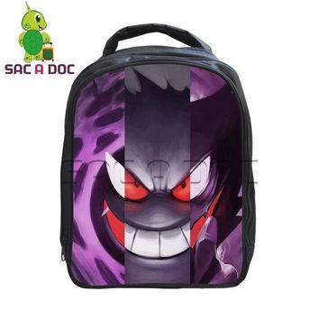 Boys bookbag trendy Pokemon Backpack Gastly Haunter Gengar Split Printing School Backpack for Children Boys Kindergarten  Kids School Bags AT_51_3