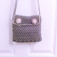 Hand crochet shoulder bag Gray Grey small purse Grey crochet cell phone purse treasure hand  bag small organizer tote accessory money purse