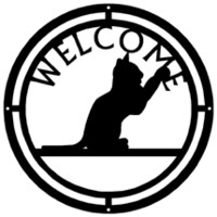 Metal Welcome Sign Round Cat Pawing