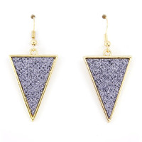 Simple Gorgeous Gold-tone Blue Triangle Dangle Drop Earrings