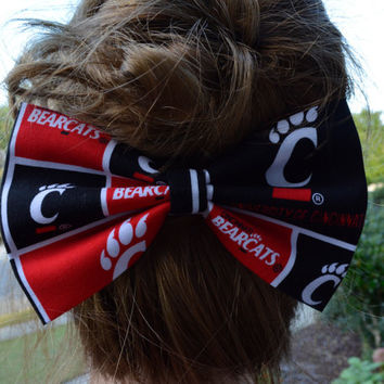 University of Cincinnati hair bow, sports hair bows, sports fans accessories, hair accessories, Bearcats