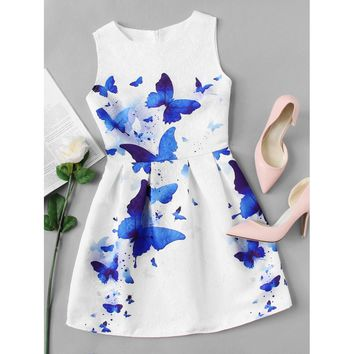 Butterfly Print Embossed Fit & Flare Dress