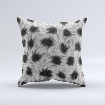 Dotted Black White Animal Fur ink-Fuzed Decorative Throw Pillow