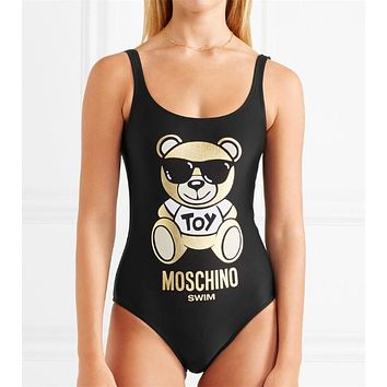 Moschino Teddy Bear Metallic Printed Swimsuit Bodysuit One-piece Bathing Suit #2463