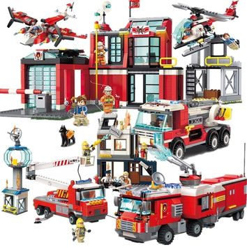 HOT NEW City Police Firefighter Rescue Fire Station Truck Aircraft Ladder Car Building Blocks Sets Kid Toy Legoings