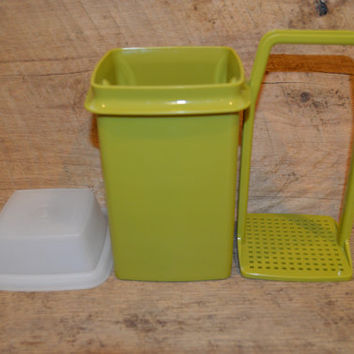 Tupperware Pickle Keeper in Avocado Container, Lid, and Strainer, Vintage Tupperware, Pickle Keeper, Retro, 1970's , Avocado Tupperware