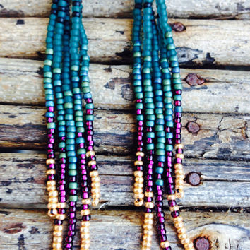 Long Drop Earrings, Beaded Earrings, Long Fringe Seed Bead Earrings,