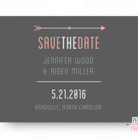 Simple Save the Date // Arrow Save the Date Card // Modern Save the Date Cards // Pink and Gray Save the Date // PRINTABLE Save the Date