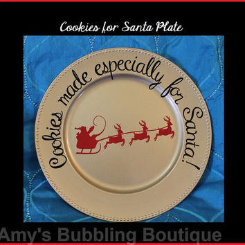 Santa Plate, Cookie for Santa, Christmas Gift, Christmas Plate, Christmas Eve, Home Decor, Cookies for Santa Plate, Gold Plate, Santa