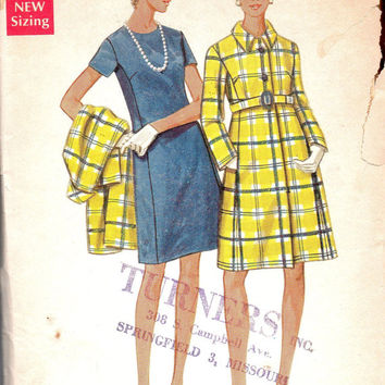 Butterick Retro 60s Sewing Pattern 5010 Basic Sheath Dress High Fashion Coat Full Figure Plus Size Bust 38