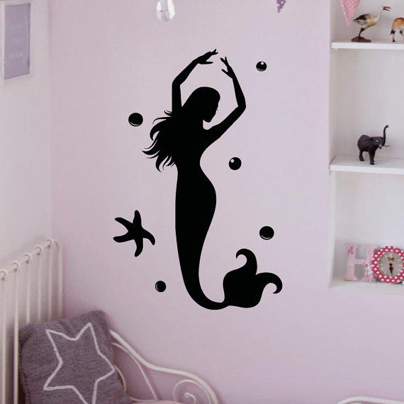 Bathroom Sea Wall Decor : Wall decal mermaid stickers under the from fabwalldecals