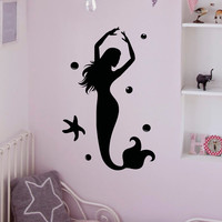 Wall Decal Mermaid Stickers- Under The Sea Wall Decal- Ocean Wall Decal Mermaid Wall Art Bathroom Girls Bedroom Nursery Kids Home Decor Q167