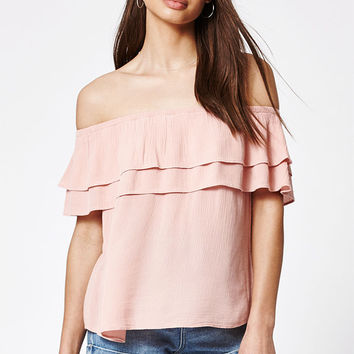 LA Hearts Double Ruffle Off-The-Shoulder Top at PacSun.com