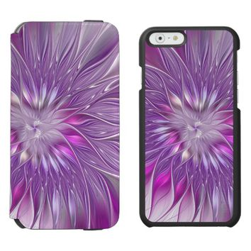 Pink Purple Flower Passion Abstract Fractal Art iPhone 6/6s Wallet Case