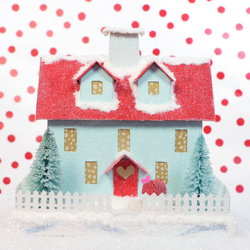Valentine Glitter House Putz Vintage Style Decoration Tiffany Blue Dormer/Red Roof
