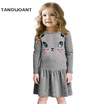 Princess Girls Dress 2018 New Fashion summer Cat Print Children Long Sleeve Cartoon baby girl Cotton Party Dresses for kids