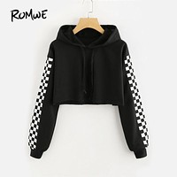 ROMWE Contrast Checked Sleeve Crop Hoodie Drawstring Plaid Regular Fit Women Top Long Sleeve Pullover Sweatshirt