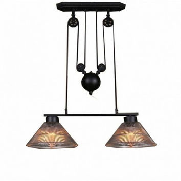 2 light Up and down adjustable  black edison retro industrial countryside pulley pendant lamp light with clear glass shade