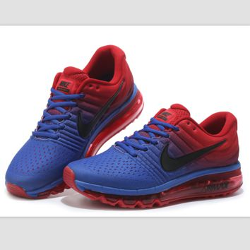 """NIKE"" Trending Fashion Casual Sports Shoes AirMax section Blue red black hook"