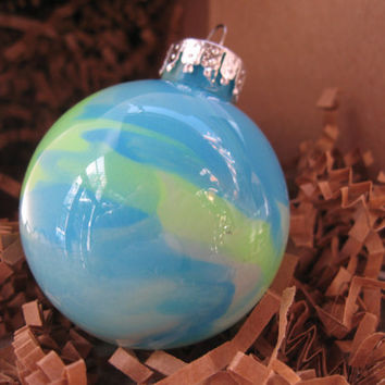 Glass Ornament, Aqua Blue and Neon Yellow, Hand painted glass, glow in the dark paint, OOAK, Christmas decoration
