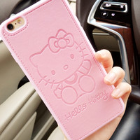 High quality Pu Leather cute Hello kitty case for Apple iphone7 7plus 6 6s 6plus  Lovers TPU silicone phone case back cover capa