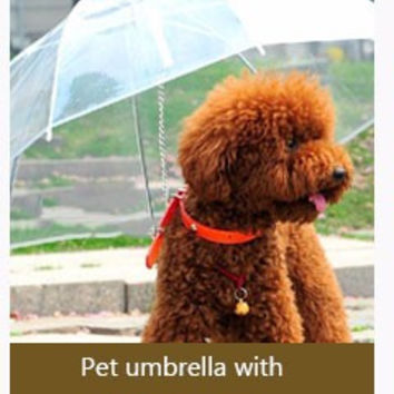 Clear Pet Doggie Umbrella  Gear with Dog Leads Keeps Pet Dry Comfortable in Rain