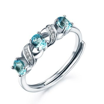 0.6ct Natural Blue Topaz Party Cocktail Rings for Women 925 Sterling Silver Jewelry Water Drop Silver Rings Fine Jewelry